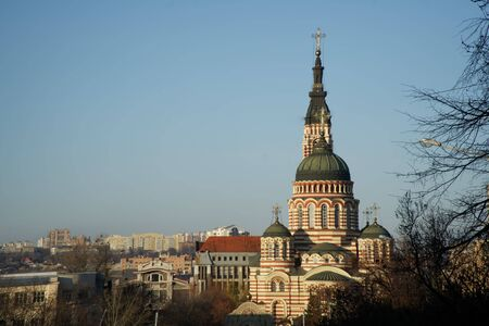 Modern ortodox basilica in Ukraine. Church on square.