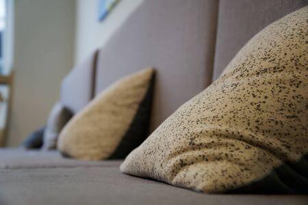 Beige pillows on canvas sofa, soft focus background. 免版税图像