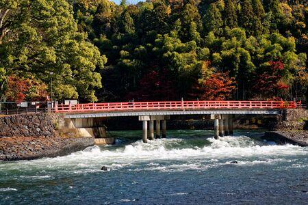 Bridge (shinkyo bridge) in nara japan. Autumn landscape.