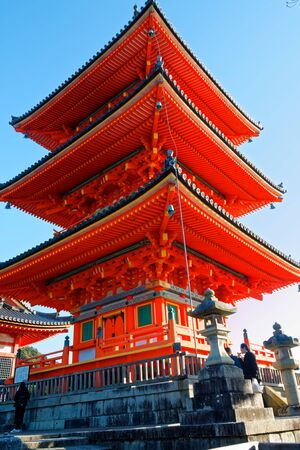 Five-storey red pagoda in Miyajima, Japan, asia concept. 新闻类图片