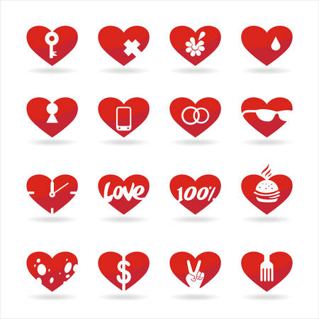 set of icons of red hearts with white background and shadow