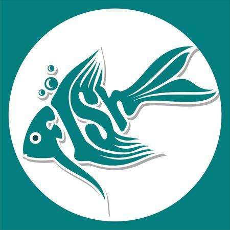 blue fish: illustration of turquoise blue fish logo on a white background Illustration