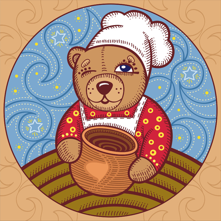 red shirt: illustration of a bear chef in the red shirt on the background of the starry sky