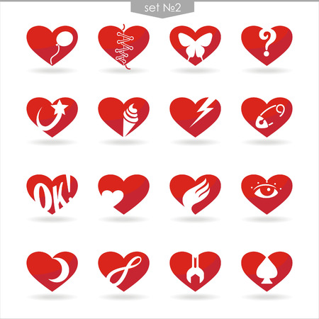 set number two of icons of red hearts with white background and shadow