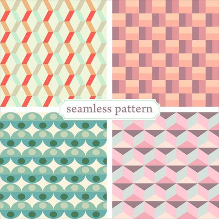 illustration icon seamless geometric pattern in retro style set Illustration