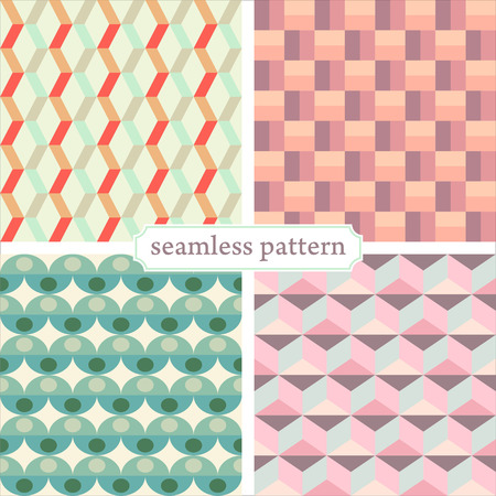illustration icon seamless geometric pattern in retro style set Vectores