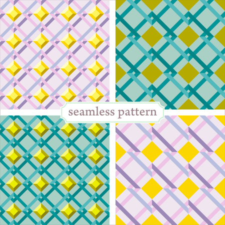illustration seamless geometric pattern in retro style set