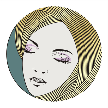 golden hair: illustration of a beautiful face of a girl with closed eyes and golden hair on a white background