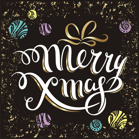 illustration vector merry christmas lettering design with christmas balls on the black background
