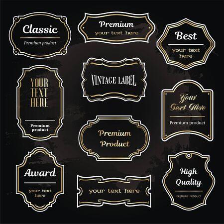 sample: illustration of vintage design elements vector sample labels shapes set6