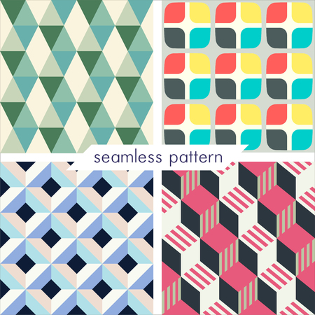 Set of four vector seamless geometrical patterns. Vintage textures. Decorative background for cards, invitations, web design. Retro digital paper. 일러스트