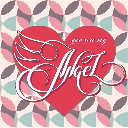Unieke hand getekende letters met wervelingen - Je bent mijn engel. Romantisch ontwerpelement voor Valentijnsdag, sparen de datum kaart, poster of kleding ontwerp. Stock Illustratie