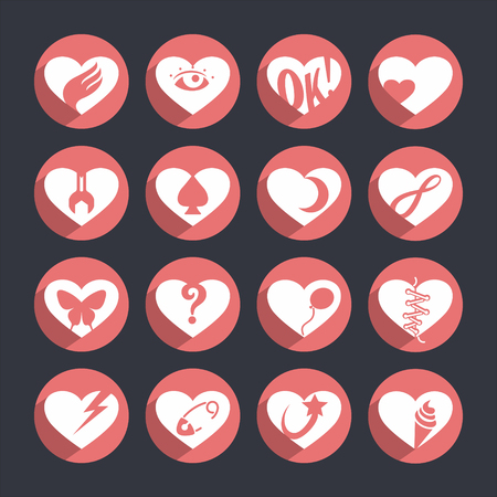 Set of vector icons of hearts with a different meaning.