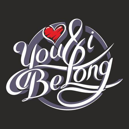 Unique hand drawn lettering with swirls illustration. Illustration