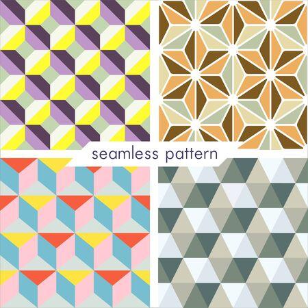Set van vier vector naadloze geometrische patronen. Vintage texturen. Decoratieve achtergrond voor kaarten, uitnodigingen, webdesign. Retro digitaal papier.