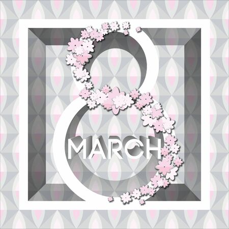 Greeting cards for international womens day. Eight March. Usable for prints. Vector design. Hand drawn elements.