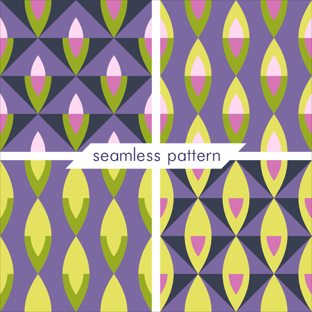 Set of four vector seamless geometrical patterns. Vintage textures. Decorative background for cards, invitations, web design. Retro digital paper. Illustration