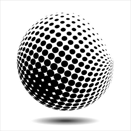 ball point: Set abstract halftone 3D spheres. Dotted spot vector design elements. Illustration