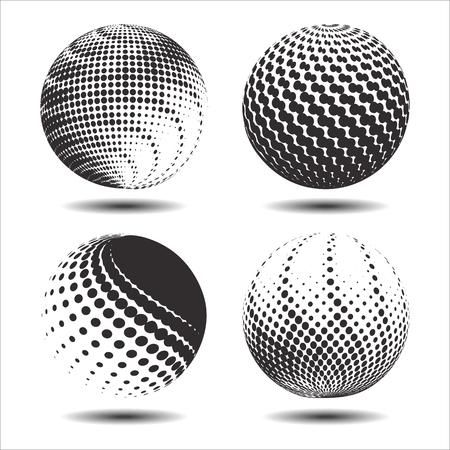 globe logo: Set abstract halftone 3D spheres. Dotted spot vector design elements. Illustration