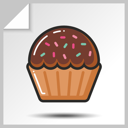 Sweet icon- chocolate muffin. Vector Isolated flat colorfull illustration. Illustration