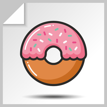 Sweet icon- donut wiht icing. Vector Isolated flat colorfull illustration. Illustration