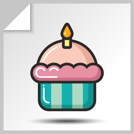 Sweet icon - cake with candle. Vector Isolated flat colorfull illustration.