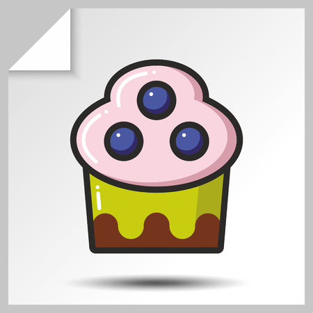 Sweet icons - cake with blueberry. Vector Isolated flat colorfull illustration.