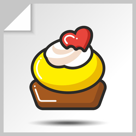Sweet icon- cake wiht heart. Vector Isolated flat colorfull illustration.