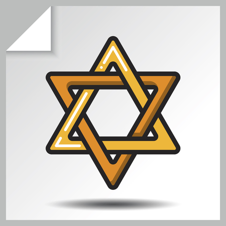 Judaism icon-the six-pointed Star of David. Vector Isolated flat colorful illustration.