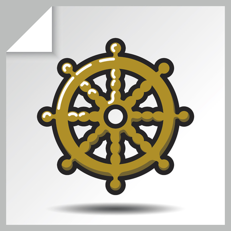 Buddhism icon - dharmachakra. Vector Isolated flat colorful illustration. Illustration