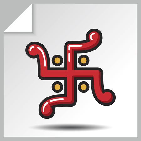 Jainism icon - swastika. Vector Isolated flat colorful illustration.
