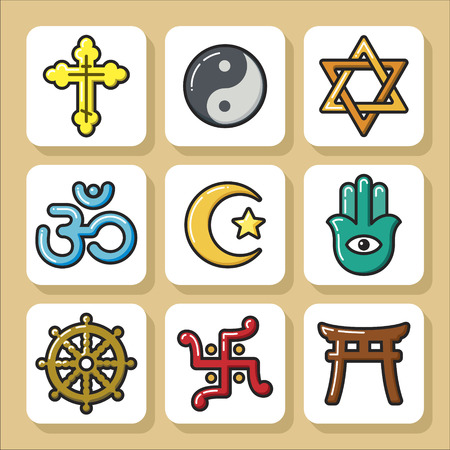 jainism: Set of religious icons. Vector Isolated flat colorful illustration.