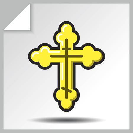 Christianisme Croix icône. Illustration isolée de vecteur plat coloré.