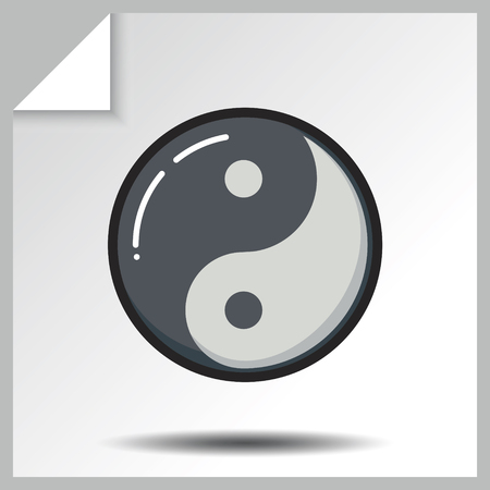daoism: Taoism yin yang icon. Vector Isolated flat colorful illustration. Illustration