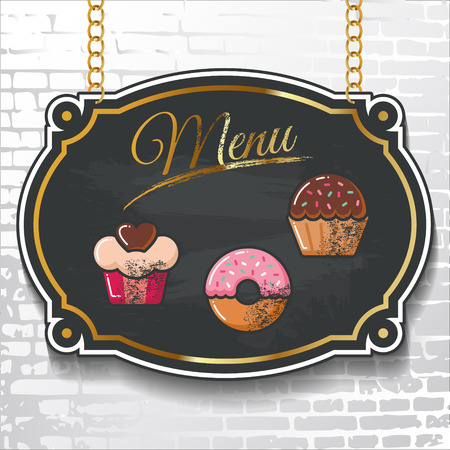 cupcake illustration: Menu with vector sweet cake icons drawn in colorful chalk on a black chalkboard hanging on a brick wall background. The illustration can be used for menu and signage of a bakery, restaurant, cafe.