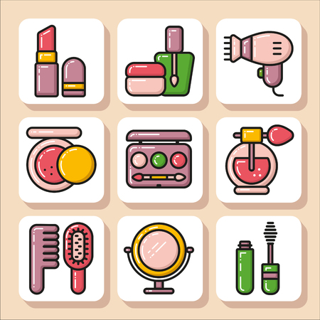 Set of beauty cosmetics icons. Vector Isolated flat colorful illustration.