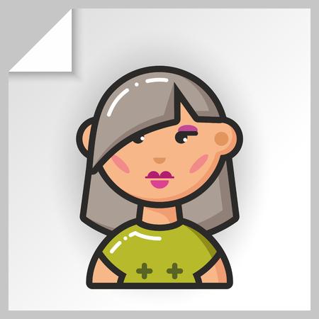 Cartoon female avatars- face icons. Vector Isolated flat colorful illustration. Illustration
