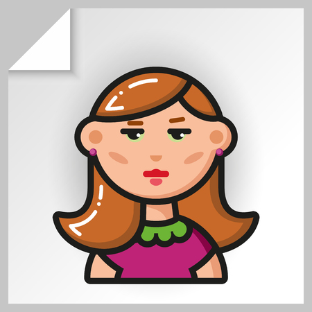 Cartoon female avatars- face icons. Vector Isolated flat colorful illustration. Beautiful girl in a lilac dress.