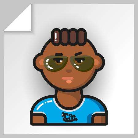 Dibujos animados avatares masculinos iconos de cara. Vector aislado plano colorido ilustración. Guy es un mulato con una camiseta azul y un gato con gafas. Ilustración de vector