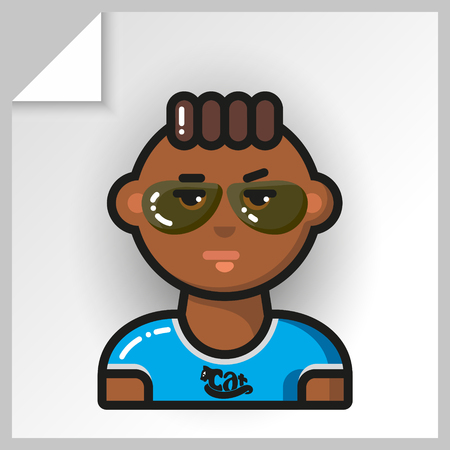 Cartoon male avatars- face icons. Vector Isolated flat colorful illustration. Guy is a mulatto in a blue t-shirt with a cat with glasses. Illustration