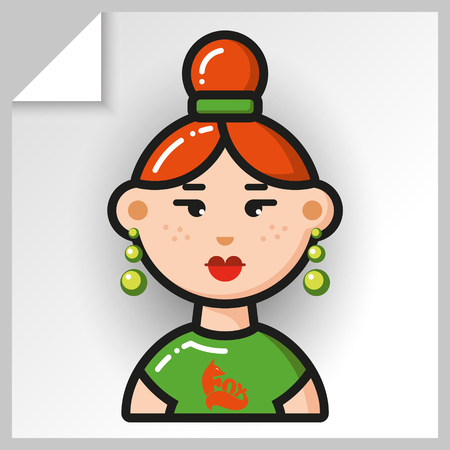 Cartoon female avatars- face icons. Vector Isolated flat colorful illustration. Red-haired girl in a green T-shirt with a lion. Illustration