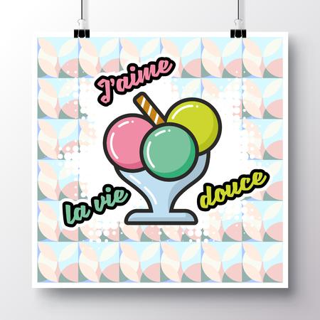 """Affiche avec icône crème glacée et phrase """"J'aime la vie douce"""" sur le fond d'un motif sans couture. Illustration vectorielle pour papier peint, flyers, invitation, brochure, carte de voeux, menu. Banque d'images - 82650542"""
