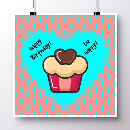 Poster with icon cupcake with heart and phrase-Happy Birthday against the background of a seamless pattern. Vector illustration for wallpaper, flyers, invitation, brochure, greeting card, menu.