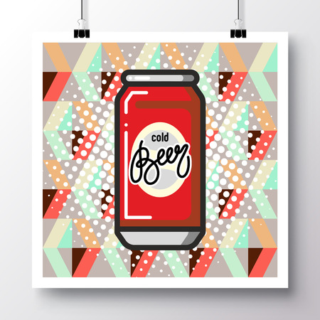 Poster with icon can of beer and phrase-Cold Beer against the background of a seamless pattern. Vector illustration for wallpaper, flyers, invitation, brochure, greeting card, menu.