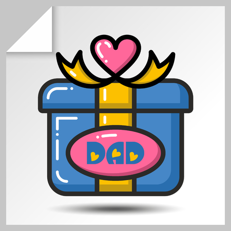 child care: Gift box-holiday icons for fathers day or for birthday. Vector Isolated flat colorful illustration. Illustration