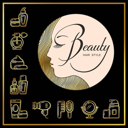 Beautiful face of girl with golden hair and beauty cosmetics icons drawn in gold lines on a black background. Vector illustration for use on booklets, brochures, flyers, business beauty salons and hairdressers. Stock Photo