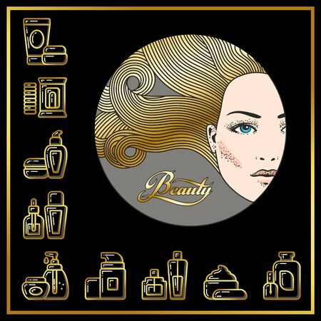 Beautiful face of girl and cosmetic tubes, bottles, jars icons drawn in gold lines on a black background. Vector illustration for use on booklets, brochures, flyers, business beauty salons and hairdressers. Stock Photo