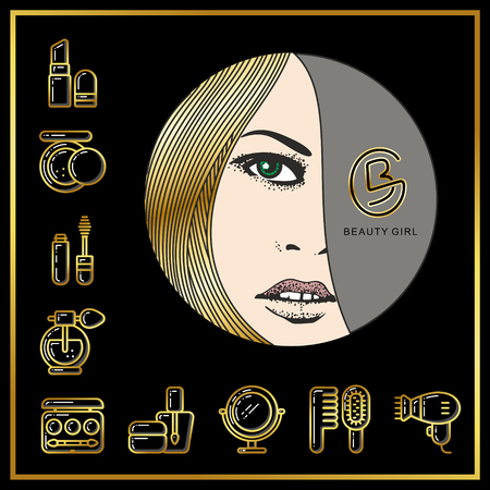 Beautiful face of girl with golden hair and beauty cosmetics icons drawn in gold lines on a black background. Vector illustration for use on booklets, brochures, flyers, business beauty salons and hairdressers. Illustration