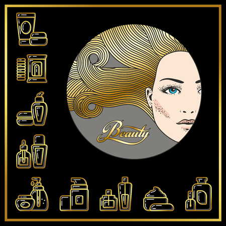 Beautiful face of girl and cosmetic tubes, bottles, jars icons drawn in gold lines on a black background. Vector illustration for use on booklets, brochures, flyers, business beauty salons and hairdressers. Illustration