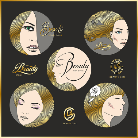 youngster: Set of beautiful faces of girls with golden hair on a black background. Vector illustration for use on booklets, brochures, banners, flyers, business beauty salons and hairdressers.